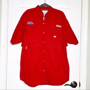 Columbia PFG Ole Miss Red Vented Shirt